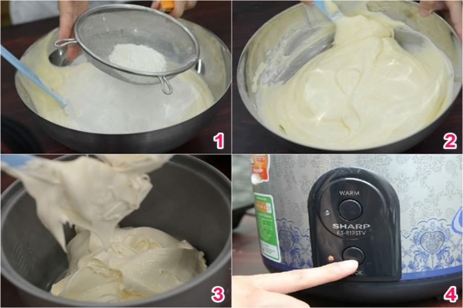 Nướng bánh bông lan trứng muối bằng nồi cơm điện 1. Rây bột mịn 2. Trộn đều với trứng 3. Cho hỗn hợp vào nồi 4. Bấm nút Cook để nướng bánh