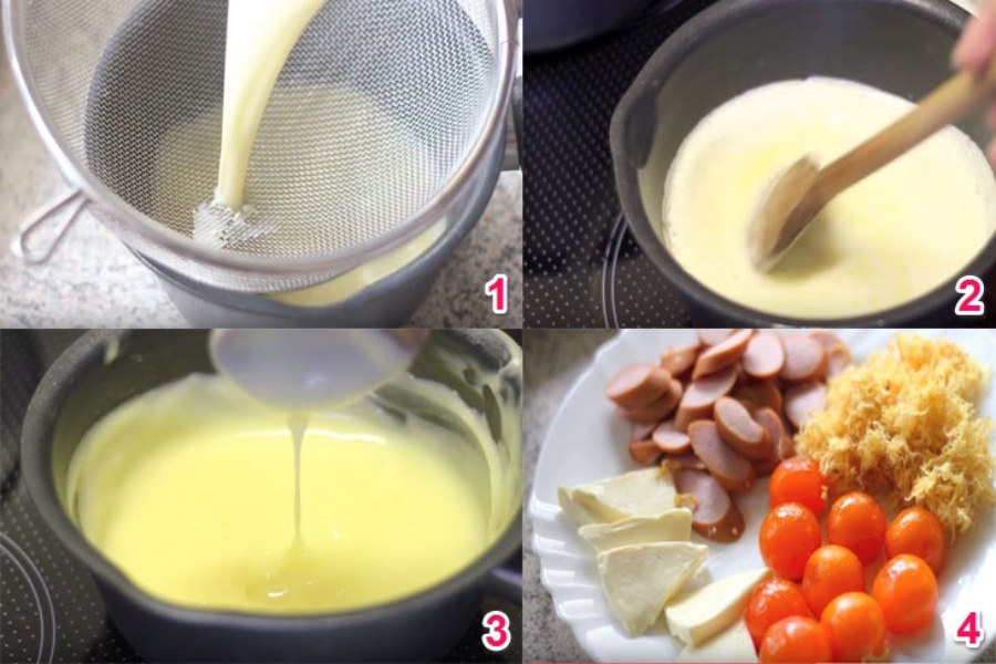 1. Lọc hỗn hợp sốt. 2. Khuấy đều tay nhẹ nhàng 3. Hỗn hợp sệt lại 4. Xúc xích, phô mai, trứng muối, chà bông