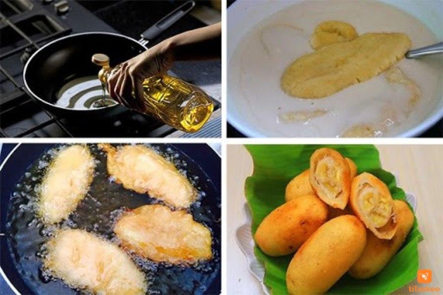 Cho dầu vào chảo đun nóng Nhúng chuối vào bột Cho chuối vào chiên Bánh chuối chín vàng thì lấy ra