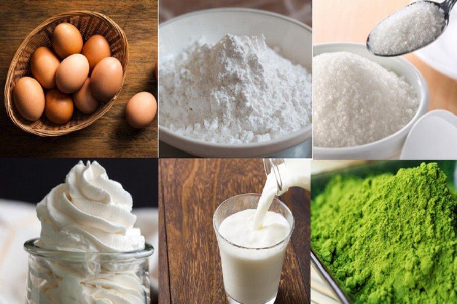 Nguyên liệu làm bánh crepe ngàn lớp trà xanh: bột trà xanh, sữa tươi, trứng gà ta, đường, bột, kem tươi