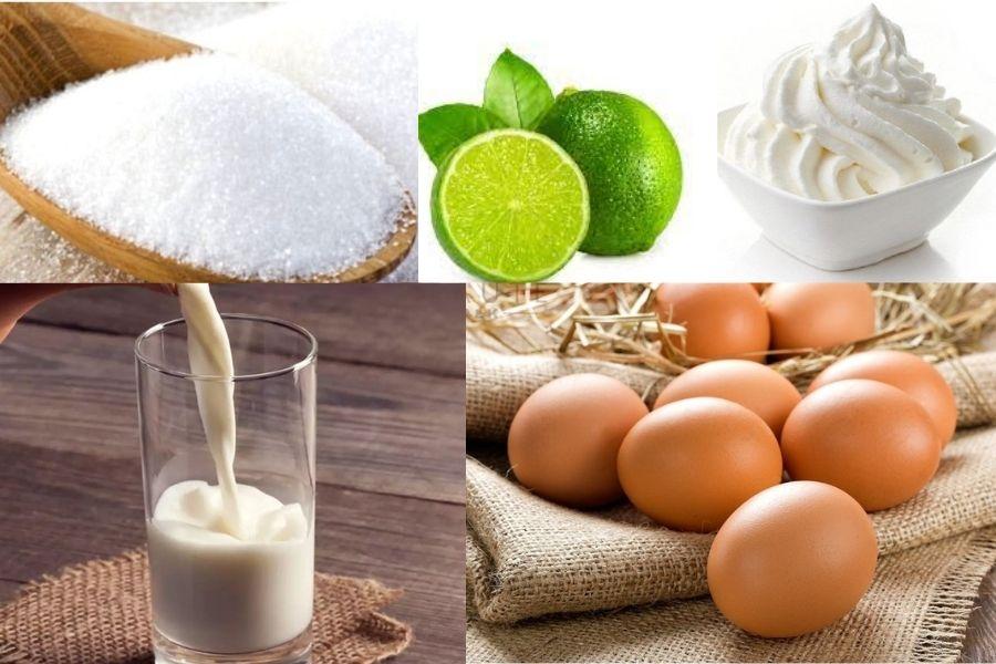 Trứng gà, sữa tươi, đường cát, wipping cream,...