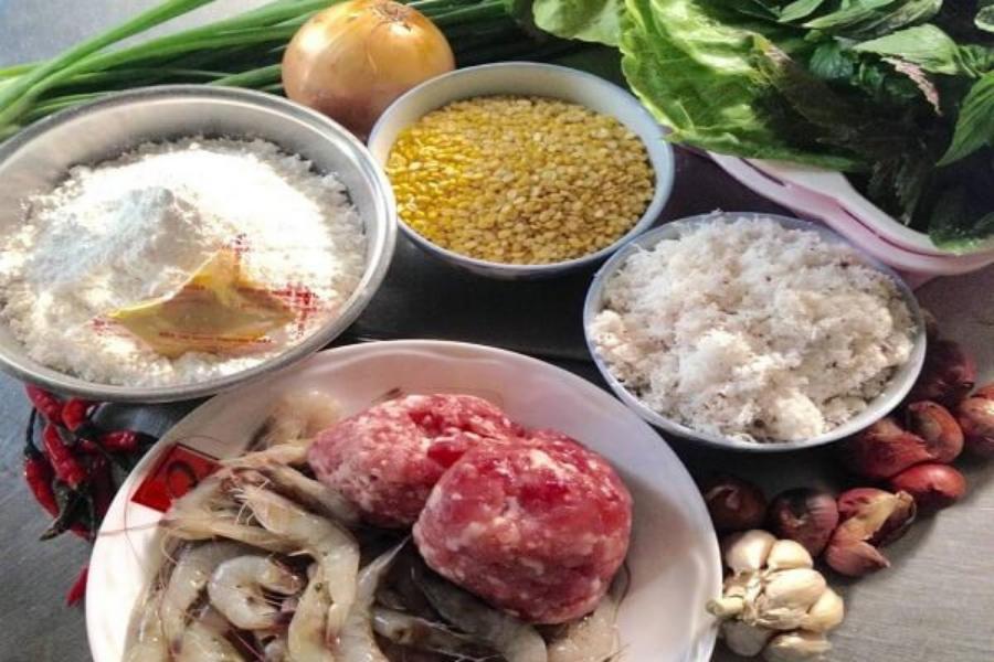 Thịt nạc xay, tỏi, tôm tươi, bột gạo, hành tím,...