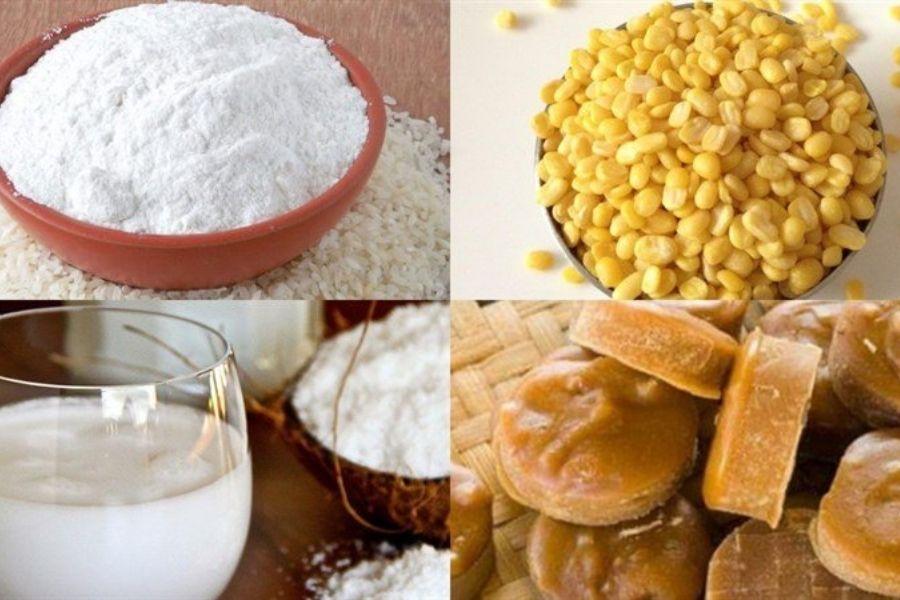 Nguyên liệu làm bánh trôi nước: đậu xanh bỏ vỏ, bột gạo nếp, nước cốt dừa, đường thốt nốt,..