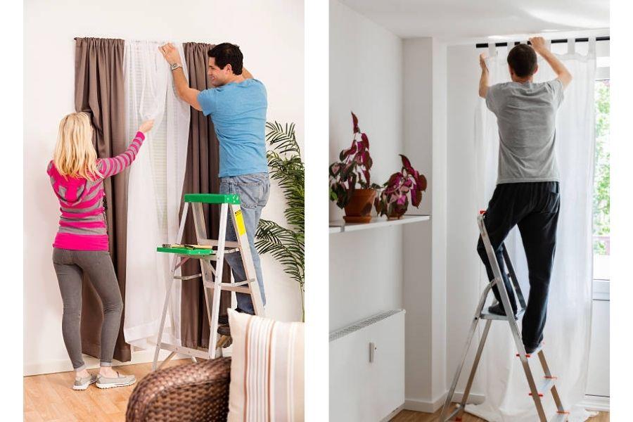 Chuẩn bị thang và người hỗ trợ khi tháo rèm cửa để giặt