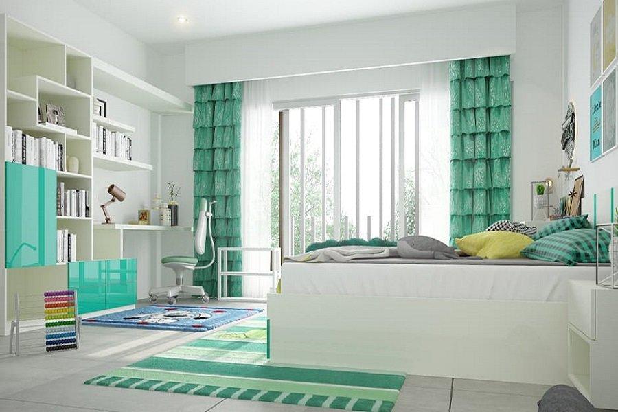 Phòng ngủ được trang trí rèm cửa màu xanh lá kết hợp với các nội thất cùng màu