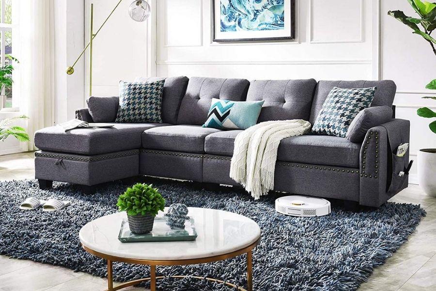 Ghế sofa mới bằng vải nỉ