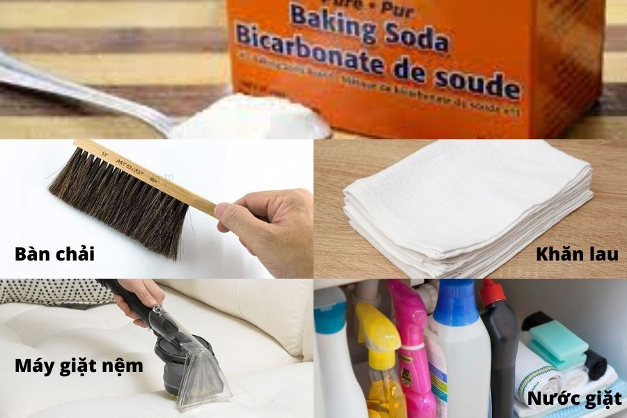 các dụng cụ cần thiết cho việc giặt nệm tại nhà