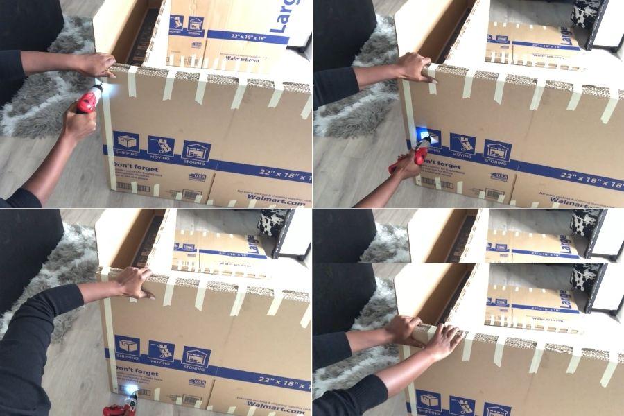 Sử dụng máy bắt vít để cố định khung ghế sofa làm bằng giấy
