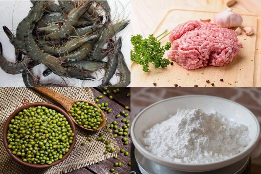 Bột gạo, đậu xanh, thịt xay, tôm,...