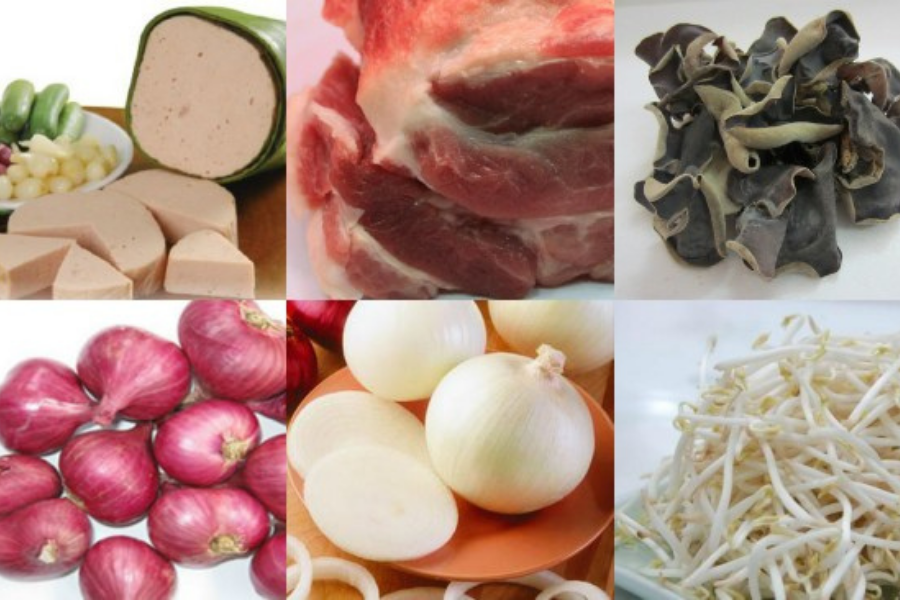 Nguyên liệu làm bánh cuốn: hành tây, hành tím, chả lụa, thịt xay, giá, nấm mèo,...