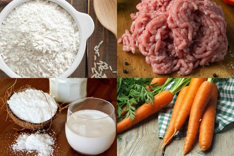 bột mì, thịt xay, cà rốt