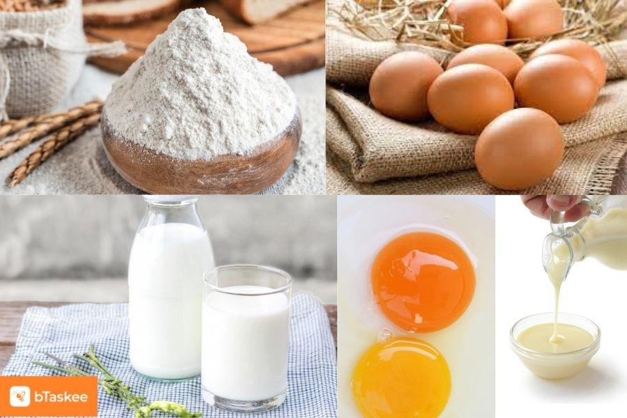 Nguyên liệu làm bánh tart trứng: trứng gà ta, lòng đỏ, sữa đặc, sữa tươi, bột mì