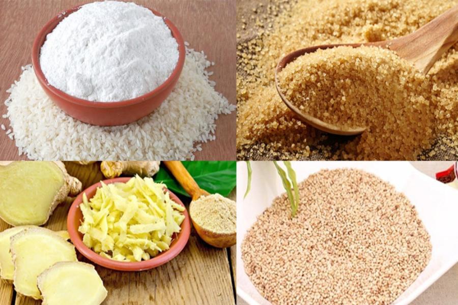 Nguyên liệu làm bánh tổ: vừng, gạo nếp, đường nâu,...