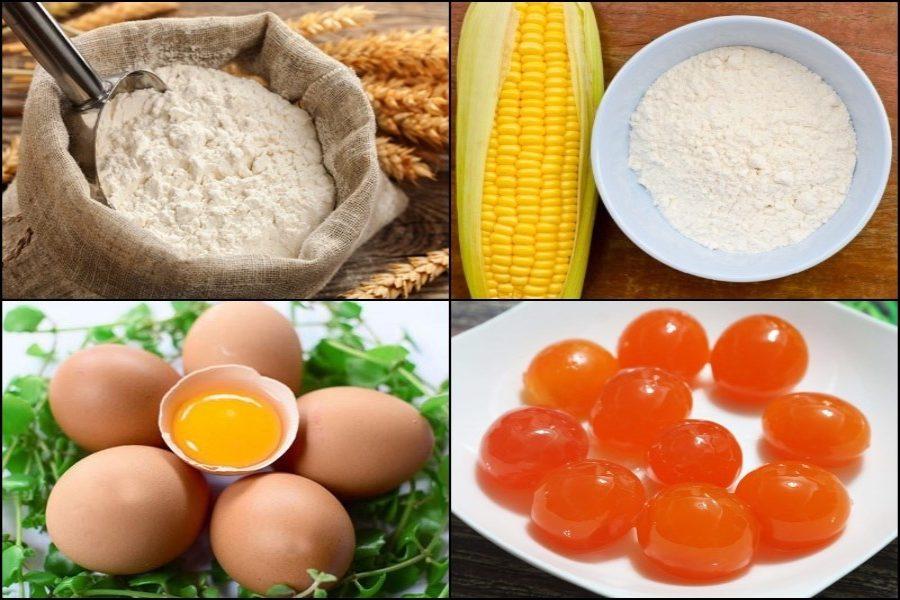 Nguyên liệu cách làm bánh bông lan trứng muối: trứng muối, bắp, trứng gà, bột mì,...