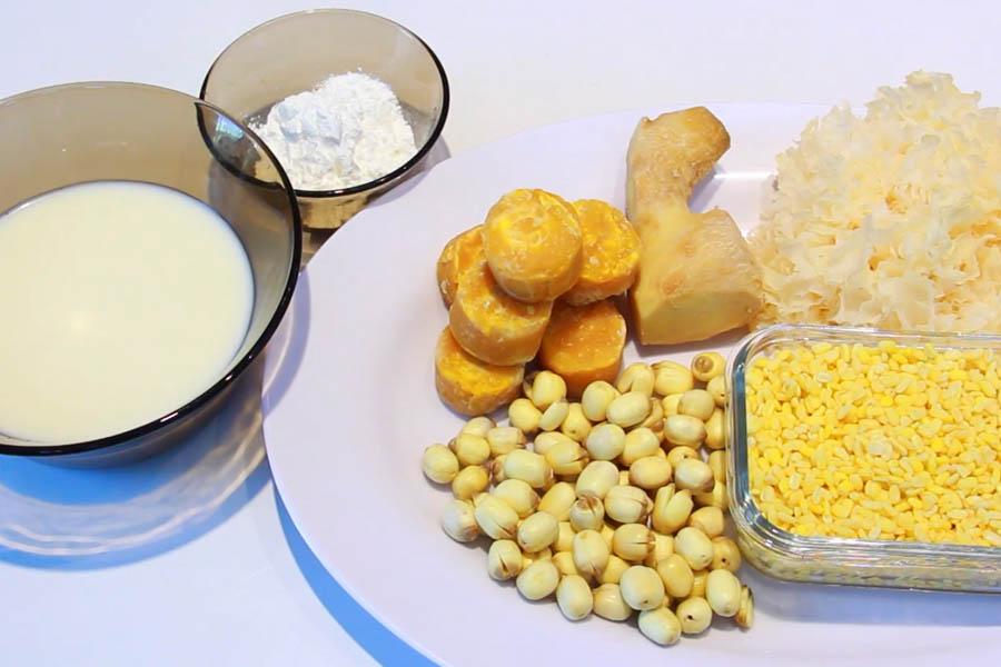 Nguyên liệu nấu chè hạt sen nấm tuyết