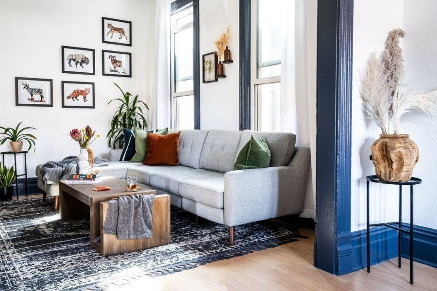 Cách bố trí sofa trong phòng khách nhỏ bằng sofa góc chữ L