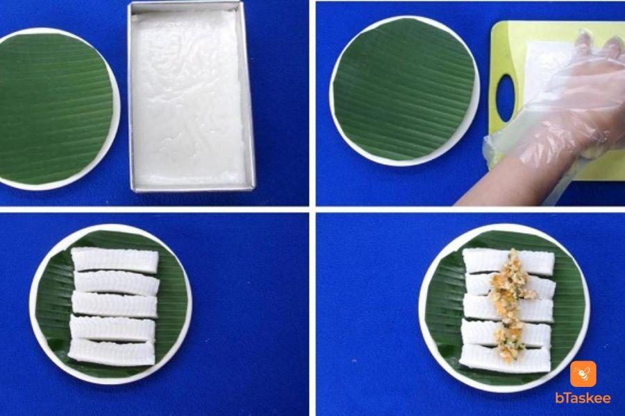 xếp lá chuối lên dĩa Cắt bánh đúc thành từng miếng, để lên trên Cho nhân lên trên và ăn cùng nước mắm