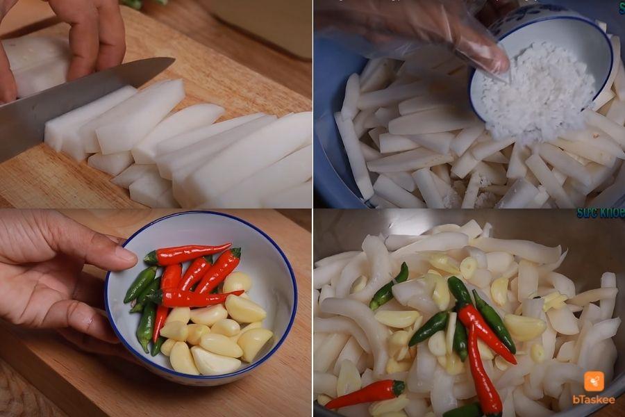 Hướng dẫn các bước ngâm chua củ cải trắng