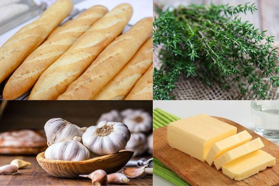 Cách làm bánh mì bơ tỏi với nguyên liệu chính là bánh mì, bơ, tỏi và Thyme